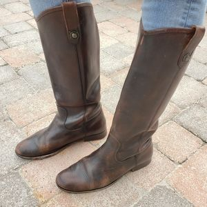 Frye Melissa Button Brown Leather Tall Boots 9
